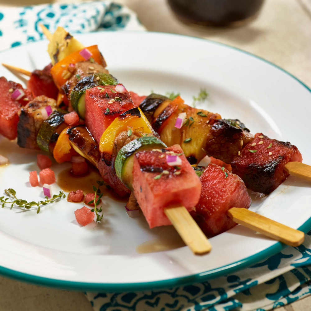 Pork and Watermelon Kebobs