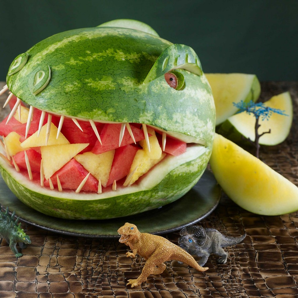 T-Rex Dinosaur Watermelon Carving