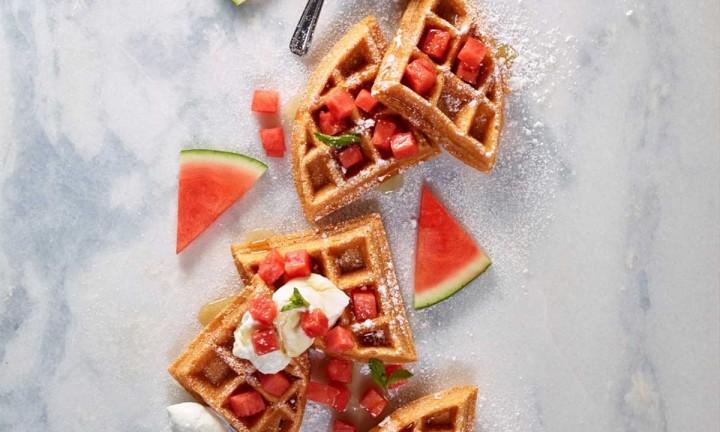 Watermelon Oat Flour Waffles by Renata Stanko