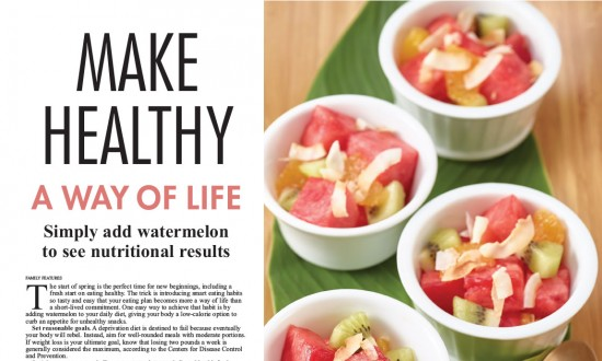 One-sheet Make Healthy a Way of Life layout with images and recipes