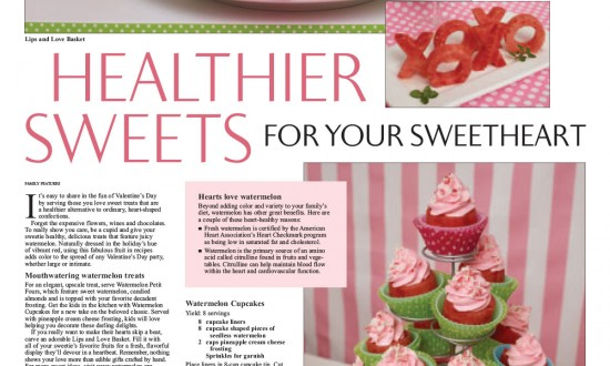 "Layout - Healthier Sweets for Your Sweetheart"" with Valentine's Day themed recipes and images"