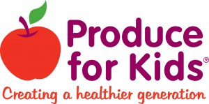 Produce for Kids icon, with small gray and white checkered background
