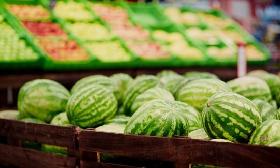 watermelon grocery store display/bin full of watermelon
