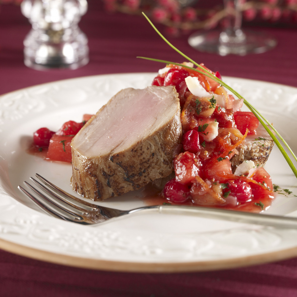 pork tenderloin topped with cranberry coconut fig chutney