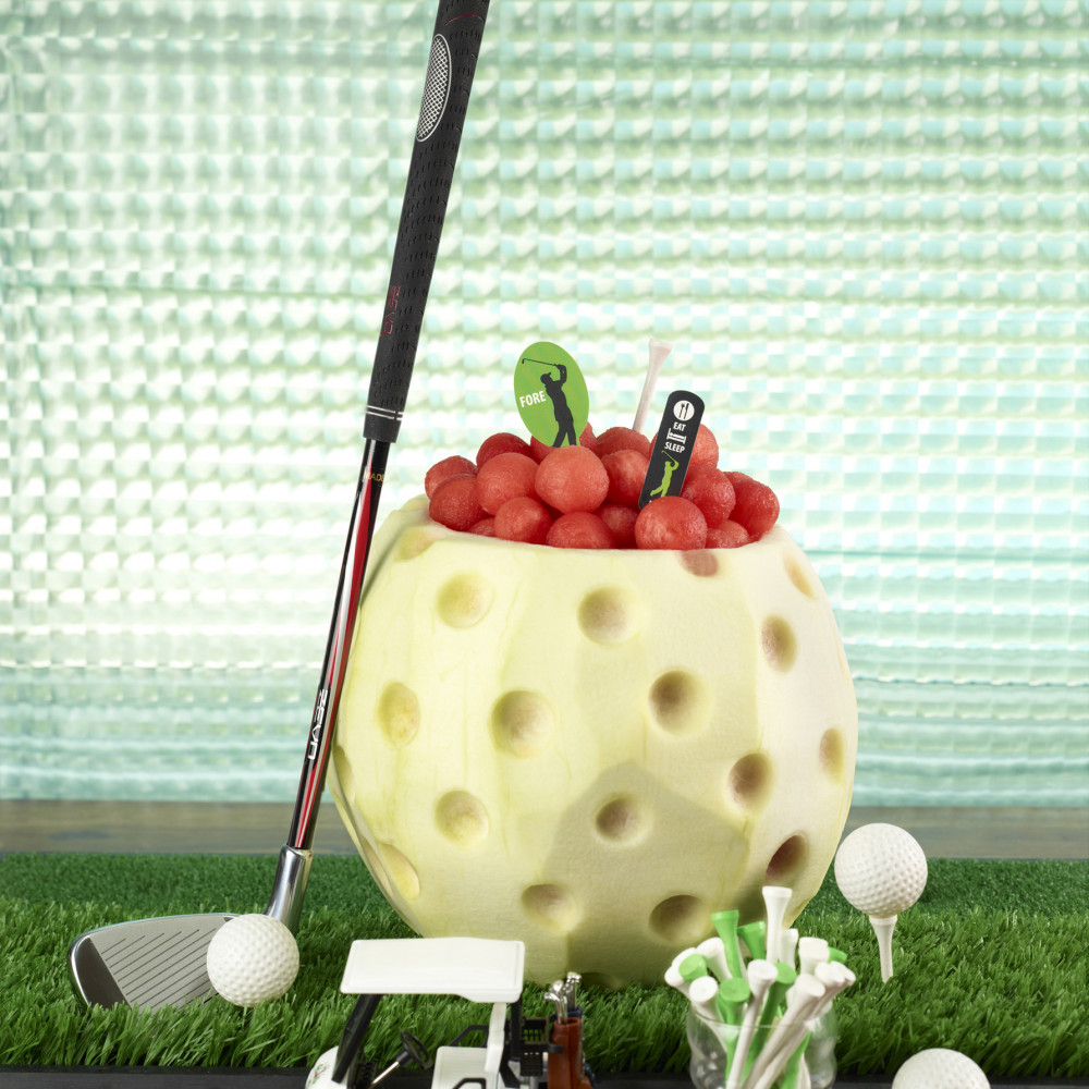 Watermelon golf ball carving display