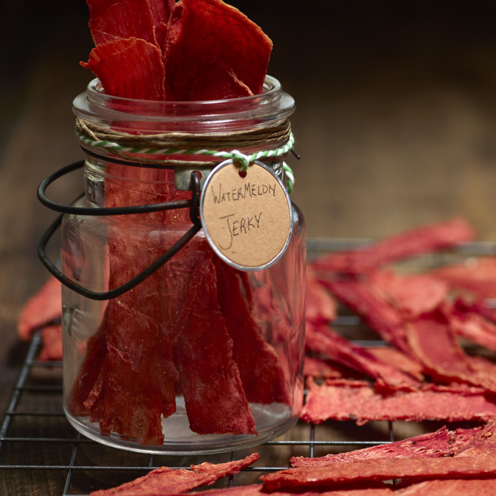 Jar of dehydrated watermelon jerky
