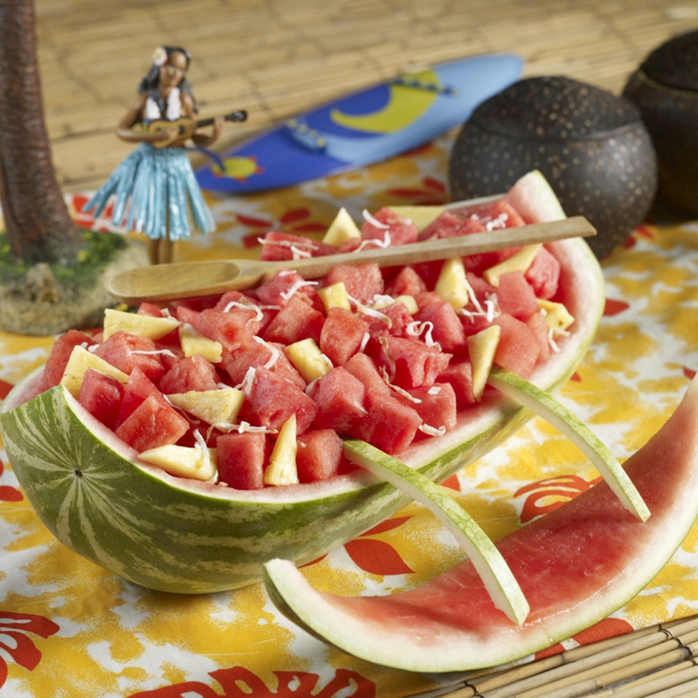 Luau canoe watermelon carving