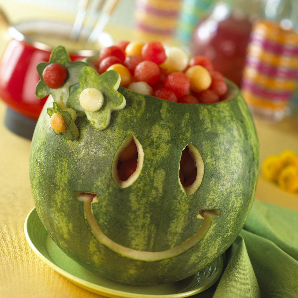Smile, as bowl, filled with watermelon balls.