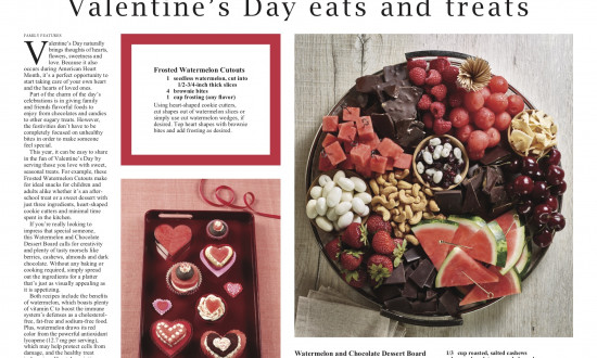 Ad for Valentine's Day with watermelon, fruit, chocolate, nuts