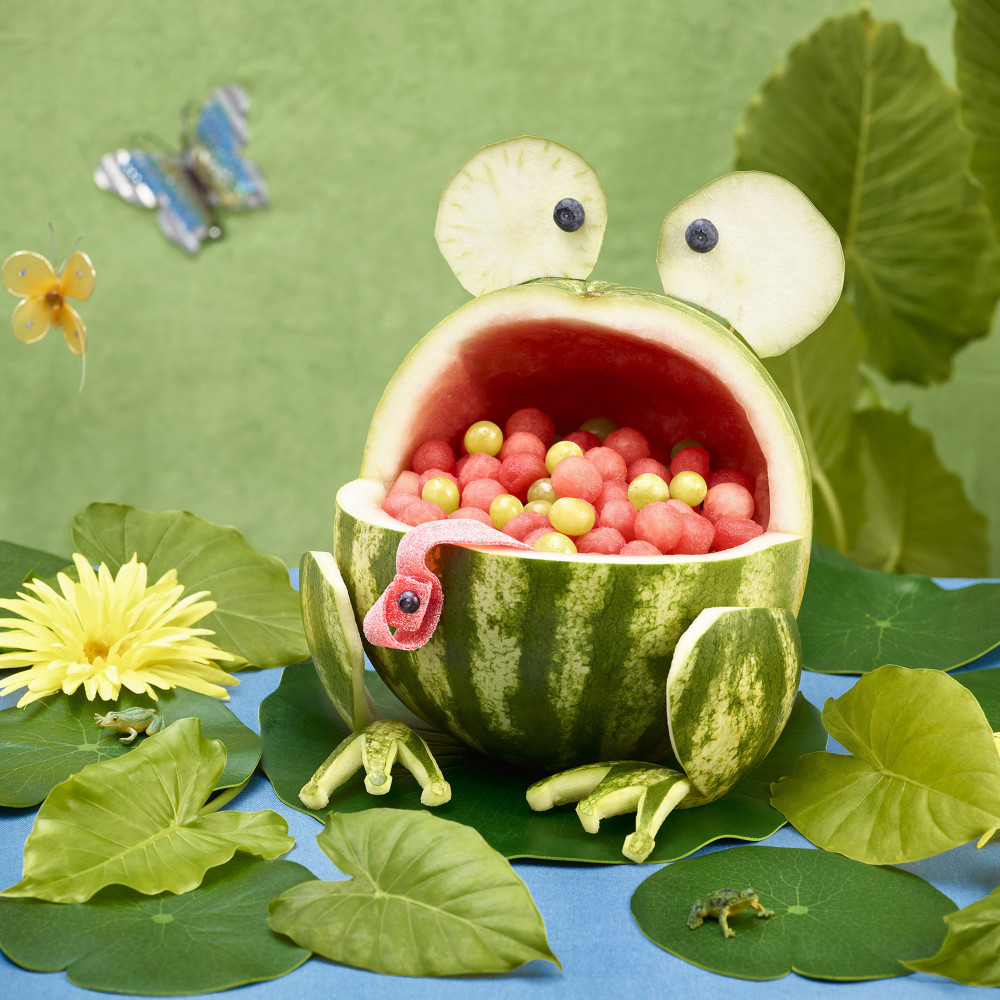 Watermelon frog carving with lily pads