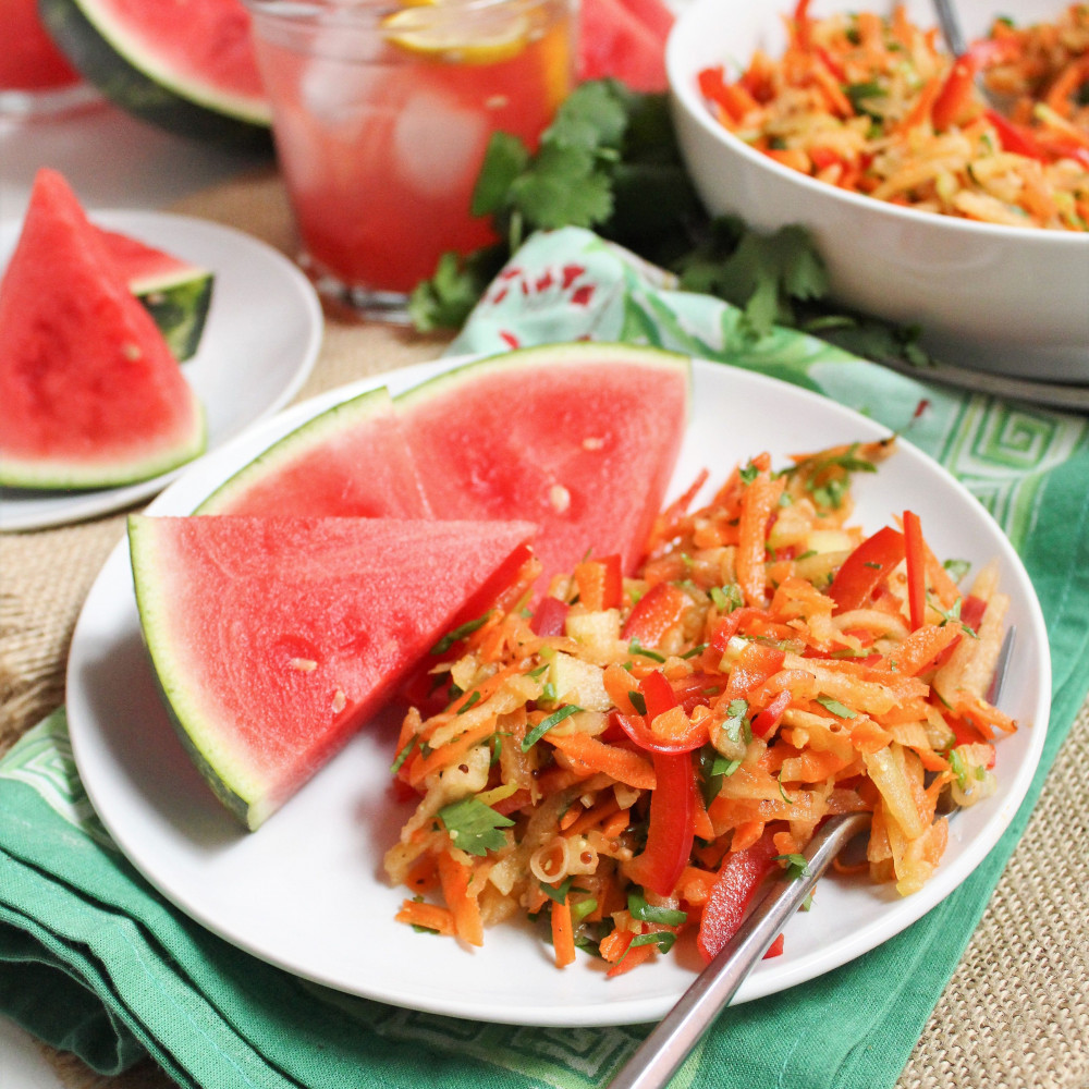 rind coleslaw on plate with watermelon wedges