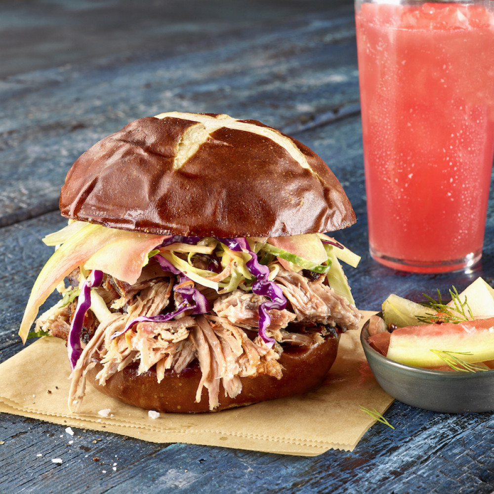 Pork Sandwich with Pickled Watermelon Rind and Watermelon Juice